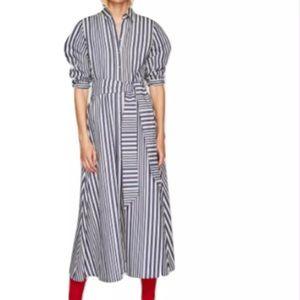 Zara Blue & White Striped Shirt Style Tunic Dress